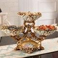 Европейская роскошная Бриллиантовая тарелка для фруктов, статуэтки, пепельница, коробка для бумажных салфеток, украшения для дома, украшен...