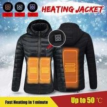 Chaquetas impermeables calientes del invierno de la chaqueta de la calefacción del USB de los deportes al aire libre termostato capa con capucha senderismo Camping ropa de esquí