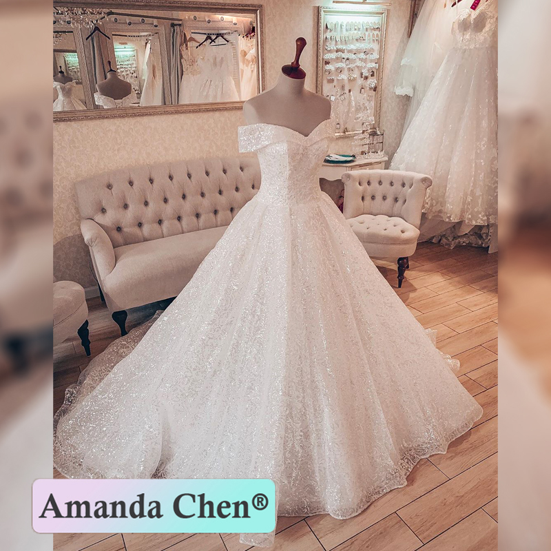 Off The Shoulder Sweetheart Ball Gown Sparkling Wedding Dress 2020