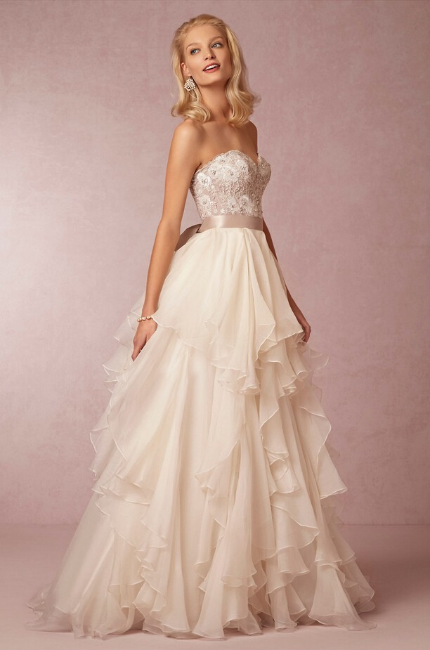 Stunning Sweetheart Backless 2018 Layered Organza Bridal Gown With Sash Off The Shoulder Vestido De Noiva Bridesmaid Dresses