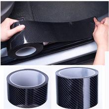 Fibra de carbono porta do carro do peitoril adesivo à prova de riscos moldando tira protetor de adesivo de carro borda da porta protetor preto
