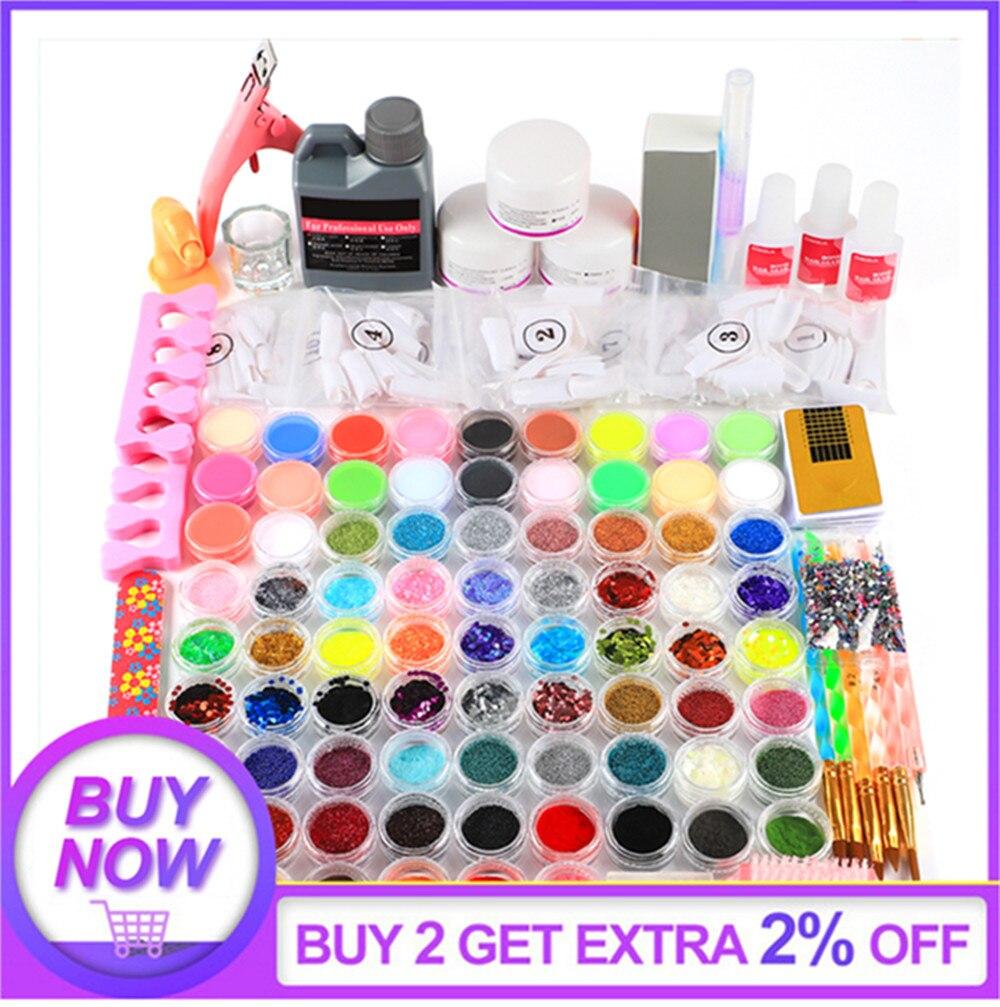 78pcs Nail Acrylic Powder Glitter Nail Art Decorations For Nail Art Kit Gems Decoration Crystal Rhinestone Brush Tools Kit