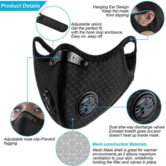 Windproof Dust Mask Sports Mask Activated Carbon Filter Exhaust Pipe Fitness Running Motorcycle Riding Mask 3