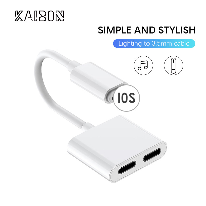 KAIBON 2 In 1 For Lightning Double Jack Earphone Aux Box Bag IOS For IPhone XS Max X 8 7Plus Dual Headphone Audio Charge Adapter
