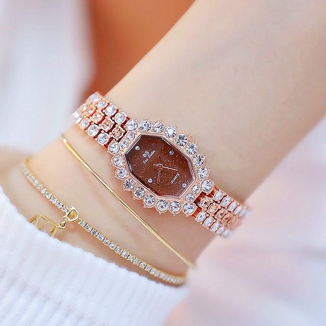 Watches Womens 2020 Top Luxury Brand Small Dress Diamond Watch Women Bracelet Rhinestone Wristwatch Women Montre Femme  3
