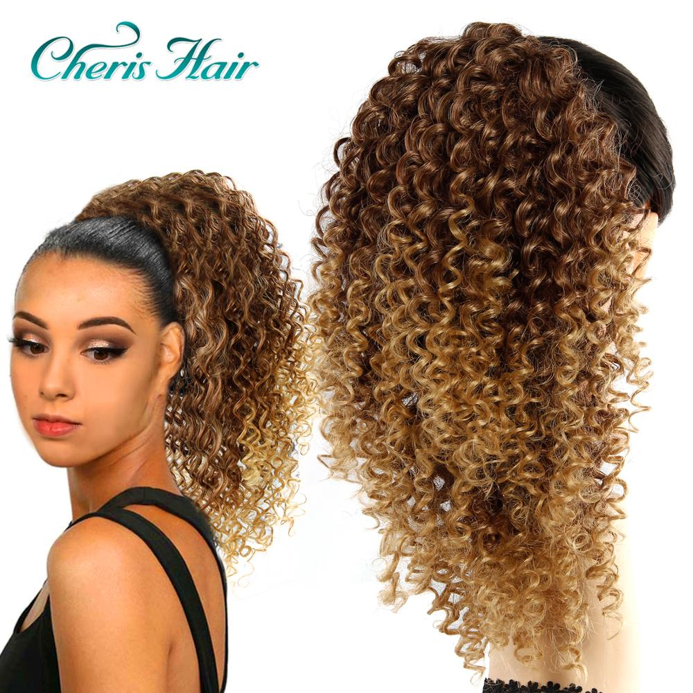 Drawstring Afro Kinky Curly Ponytail African American Short Wrap Synthetic Clip Hair Extensions In Ponytail Blonde Brown Color