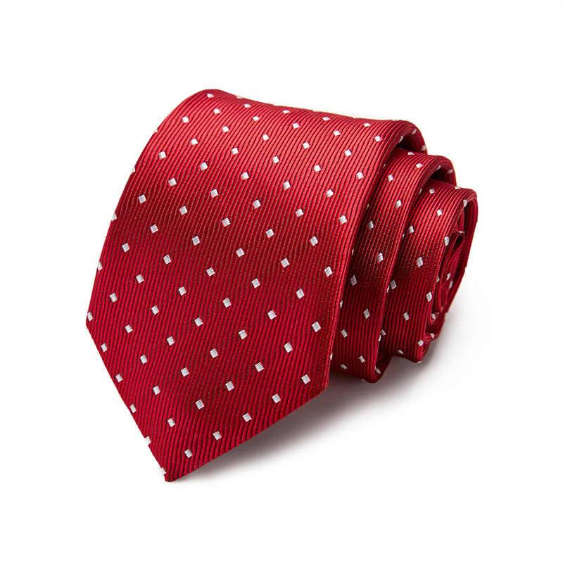 الفاخرة 100% الحرير 7.5 سنتيمتر رجل العلاقات رجل جديد موضة دوت ربطات العنق الجاكار سليم التعادل الأعمال الأخضر التعادل للرجال ربطة العنق