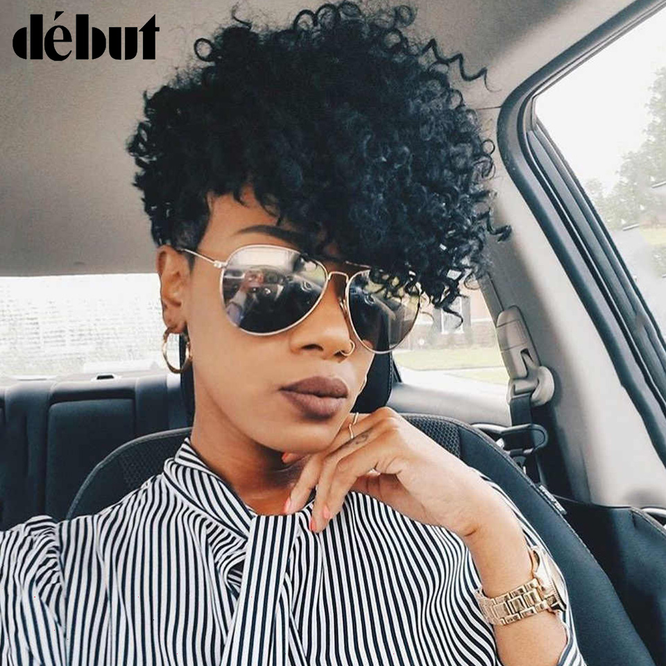 Debut Loose Curly Human Hair Wigs For Women Gifts Brazilian Remy Hair Wigs Fashion Machine Made Short Human Hair Wigs Sales