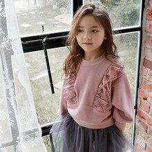 Зимняя детская одежда, удобная футболка принцессы с длинными рукавами и кружевом
