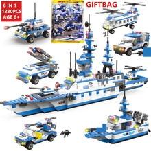 1230Pcs Military Warship Transport Aircraft NAVY Coast Guard Parrol Ship Juguetes Building Blocks LegoINGs Technic Bricks Toys