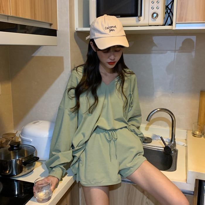 V Neck Hoodies Long Sleeve T-shirt + Shorts 2 Piece Set Summer Green Black Set