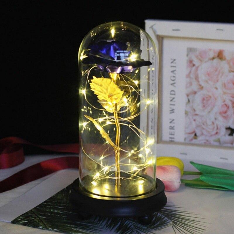 Красота и чудовище вечный цветок розы в фляге свадебное украшение Искусственные цветы в стеклянной крышке на День Святого Валентина подарок - Цвет: Blue