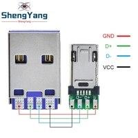 Enchufe Micro macho con placa de soldadura PCB, doble cara, Conector Micro 5P Usb + tipo A 3A 4PIN macho USB DIY, carga de datos OTG