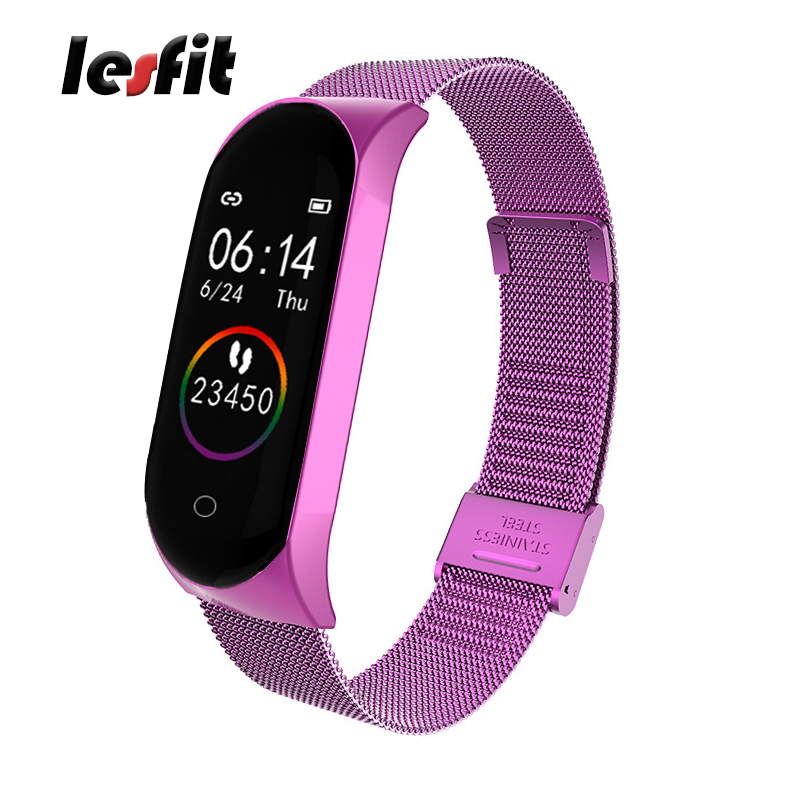 Lesfit Luxury Stainless Steel Smart Digital Watches Men Women Sport Watch Smartwatch Wristbands Electronic Clock Fitness Tracker