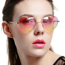 New Fashion Heart-shaped Sunglasses for Girl Retro Metal Frame Pink Mirror Cute Peach Heart-Shaped UV400