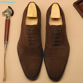 QYFCIOUFU New Fashion Suede Genuine Cow Leather Formal Shoes Men Pointed Toe Dress Shoes Breathable Groom Wedding Shoes goodyear manmade shoes wear business bovine custom made shoes genuine three joints carved tip round toe formal pointed toe ankle