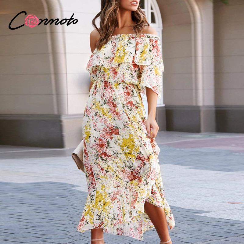 Conmoto Long Beach Boho Summer Dresses Women Plus Size Ruffles Floral Chiffon Dress One Shoulder Flounce Dresses Vestidos