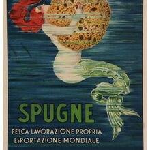 Póster de anuncio vintage con esponja de sirena, pinturas al óleo de L Buttin Italia, arte impresa en la pared, arte para la decoración del dormitorio y la sala de estar