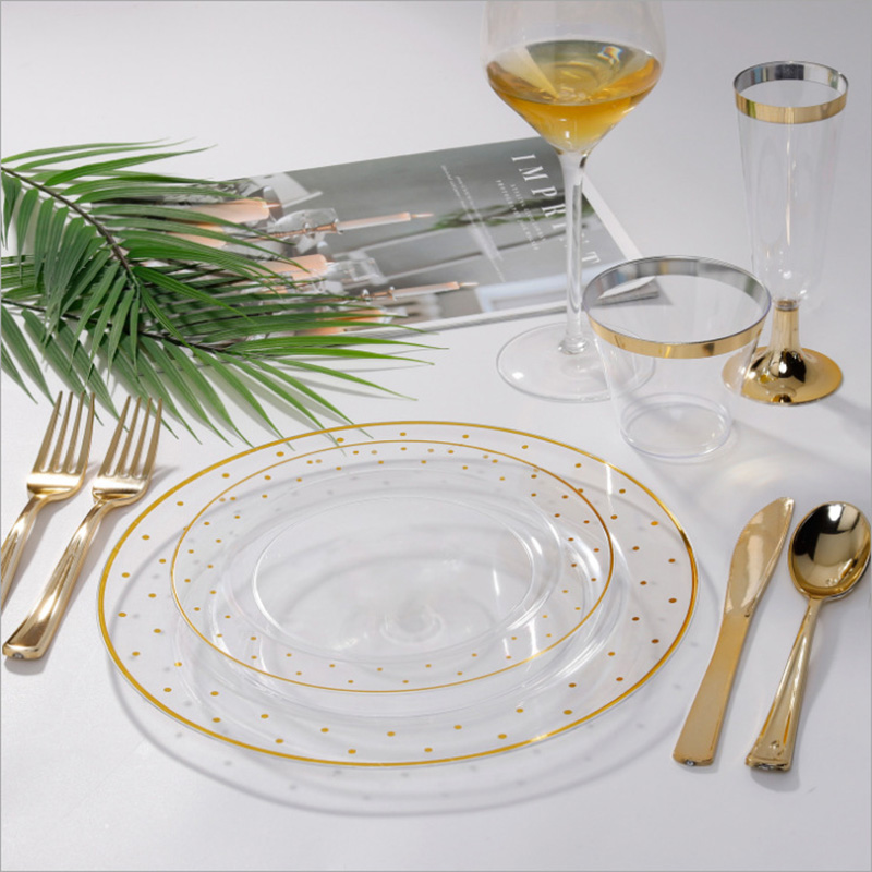 Utensílios de mesa descartáveis plásticos do partido do ponto do ouro de bronzeamento para a festa de casamento
