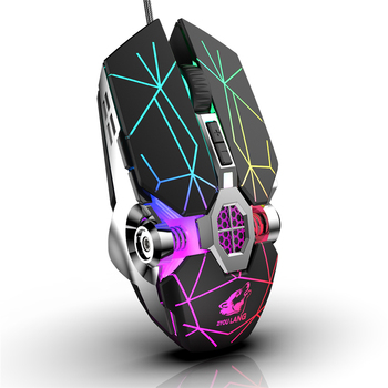 Wireless Mice Rechargeable Game Ergonomics Mouse Mute Liquid-cooled Shining Mechanical Mice 2400DPI With 7keys 4
