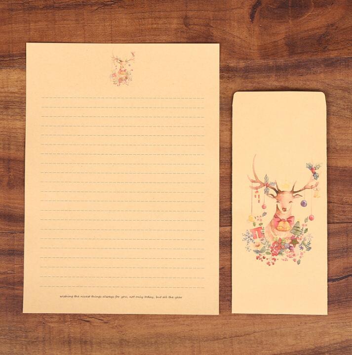 XRHYY 6 шт., винтажная бумага для письма с оленем и конвертами, ретро набор, крафт-бумага для письма, винтажный набор бумаги с буквами - Цвет: Set6
