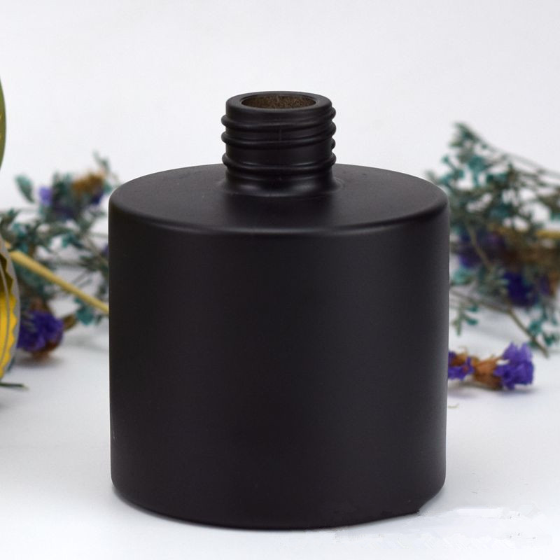 5pcs Aromatherapy Black Glass Bottle Rattan Fragrance Diffuser No Fire Perfume Bottle Scent Volatilization Black For Home Decor