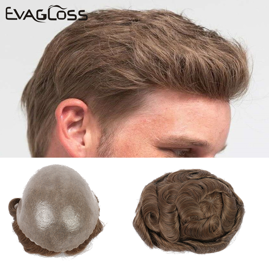2020 Hair Extensions Toupee Men Skin Pu Front Wig Human Hair Hairpiece Blonde Wig Men Remy Natural Hair System For Males Men Wig