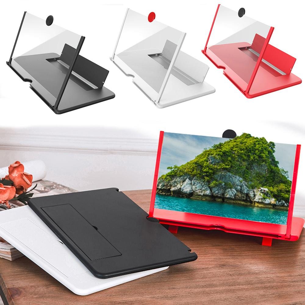 10/12 inch 3D Mobile Phone Screen Magnifier HD Video Amplifier Stand Bracket Travel Desktop Movie Magnifying Phone Support