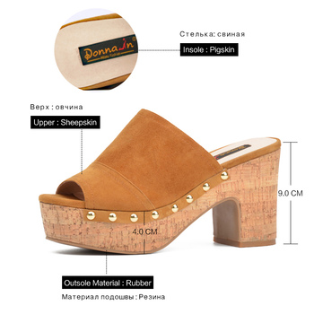 Donna-in Clearance Genuine Leather Slippers Women Summer Shoes Outside Flat Bottom Women Platform Wedge Beach Flip Flops Sandals 3