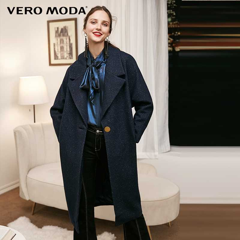 Vero Moda Women's Lapel Button Cropped Sleeve Pure Woolen Coat | 318327509