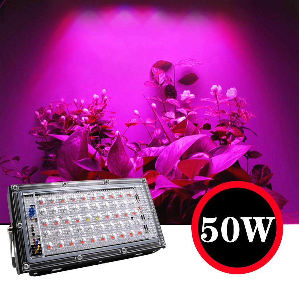 50W LED Strip Plant Growth UV Lamp 220V Plant Floodlight Greenhouse  Hydroponic Spotlight  Full Spectrum Therapy Flower FruitZH