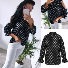 Goocheer Fashion Polka Dot Print Stand Collar Long Sleeve Blouse Autumn Highstreet Women Tops And Blouses