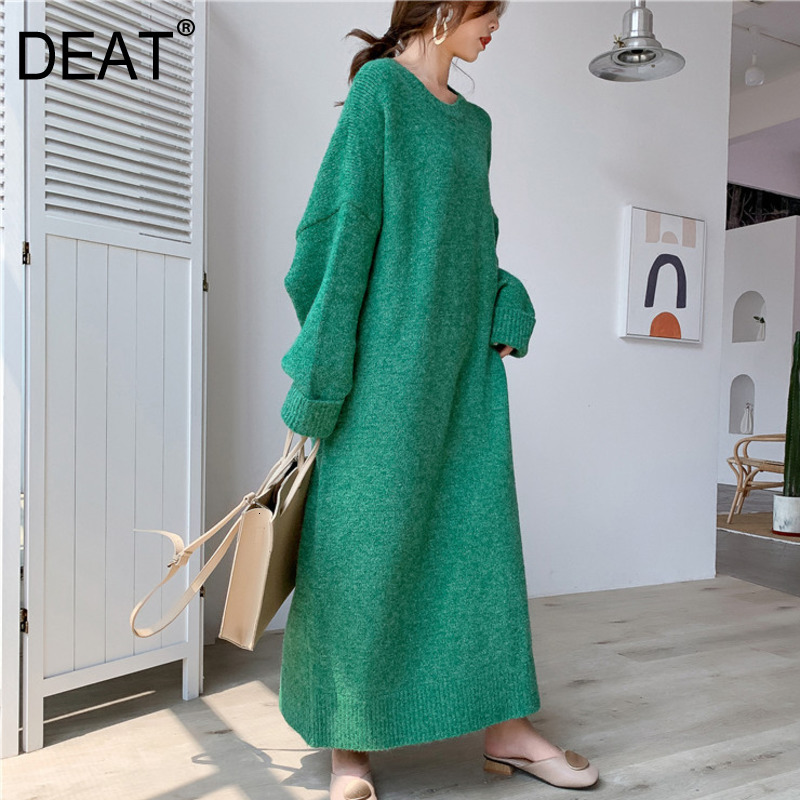 DEAT 2020 New Round Neck Full Sleeves Knits Pullover Loose Long Big Size Cashmere Female Sweater Dress 19F-a150-02
