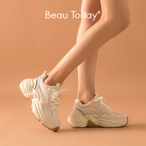 Image 1 - BeauToday Chunky Sneakers Women Dad Shoes Nylon Mesh Genuine Cow Leather Lace Up Lady Casual Thick Sole Shoes Handmade 29325