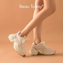 Beautoday分厚いスニーカー女性お父さん靴メッシュ本物の牛革レースアップ女性カジュアル厚いソールの靴手作り29325