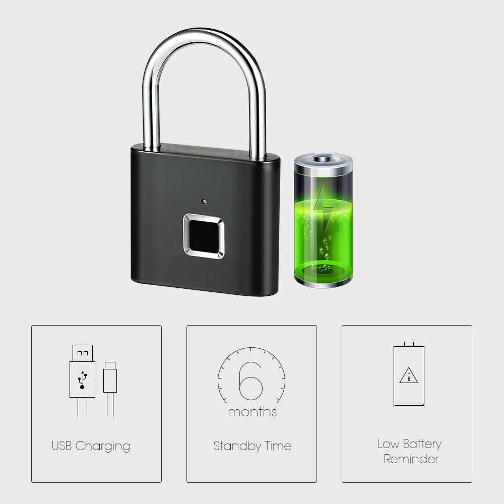Золотой ключ безопасности USB Перезаряжаемый дверной замок отпечатков пальцев Умный Замок быстрая разблокировка цинковый сплав металлический самовосстановляющийся чип