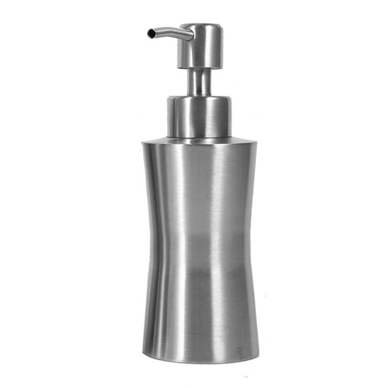 HLZS-304 Stainless Steel Liquid Soap Dispenser Bathroom Shower Pump Lotion Dispenser Bottle Hand Sanitizer Holder