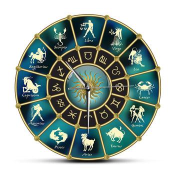 Złoty niebieski horoskop koło ze znakami zodiaku akrylowe wyciszenie zegar ścienny konstelacja astrologia Symbol Home Decor zegar ścienny tanie i dobre opinie Geek Alerts Kreatywny CZ-0611 circular 30cm Jedna twarz QUARTZ ZAGARY ŚCIENNE Wall Clock abstrakcyjne w starodawnym stylu