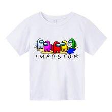 100% Cotone Kid Top Cartoon Graphic Tees Divertente Harajuku Maglietta Per Bambini Nuovo Gioco Tra Us Boy T-shirt Ragazza T Shir