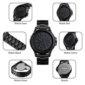 Image 5 - SKMEI אופנה גברים שעונים למעלה מותג יוקרה קוורץ שעון גברים עמיד למים IP שחור נירוסטה ציפוי relogio masculino 1513