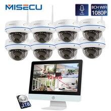 MISECU 플러그 앤 플레이 8CH 무선 NVR 키트 12 인치 LCD NVR 1080P HD Vandalproof 보안 IP 카메라 나이트 비전 WIFI CCTV 시스템