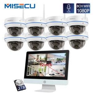 Image 1 - MISECU תקע ולשחק 8CH אלחוטי NVR ערכת 12 אינץ LCD NVR 1080P HD Vandalproof אבטחת IP מצלמה ראיית לילה WIFI טלוויזיה במעגל סגור מערכת