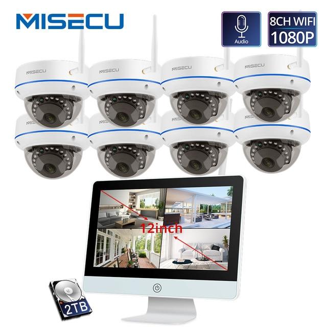 MISECU PlugและPlay 8CHชุดNVRไร้สาย 12 นิ้วLCD NVR 1080P HDกล้องวิดีโอความปลอดภัยกล้องIP Night visionระบบกล้องวงจรปิดWIFI