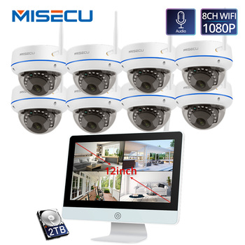 MISECU Plug and Play 8CH Wireless NVR Kit 12inch LCD NVR 1080P HD Vandalproof Security IP Camera Night Vision WIFI CCTV System цена 2017