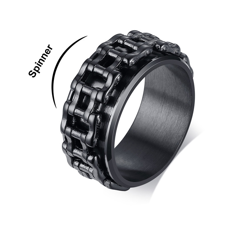 9.5MM Motorcycle Chain Link Spinner Ring for Men Stress Relief Bike Rotatable Band Finger title=