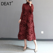 Pleated-Dress DEAT Autumn Fashion Women Turtleneck Seven-Sleeve Elegant Solid Floral