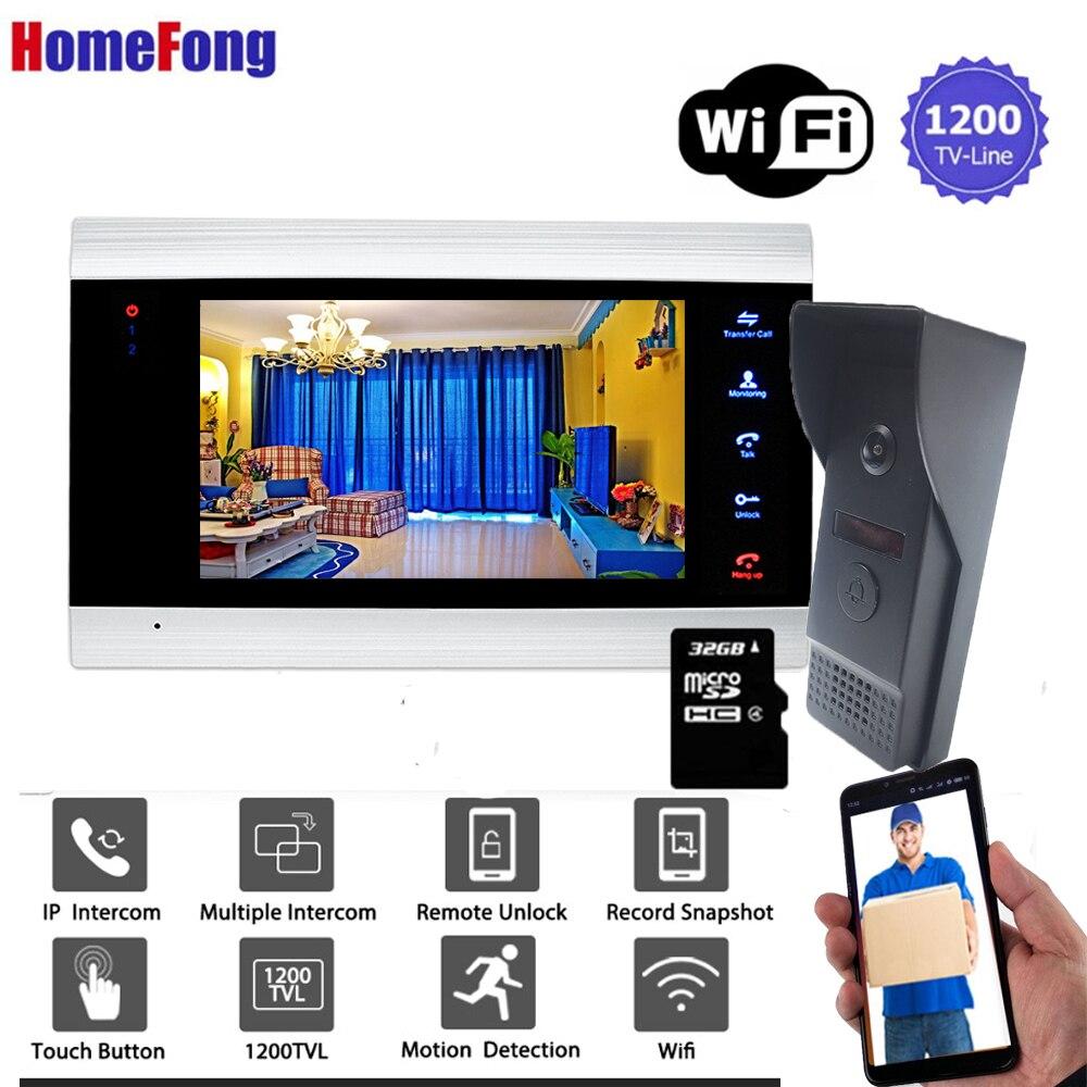 Homefong 7 Inch Wireless Video Door Phone Door Intercom IP Wifi Doorbell With Camera 1200TVL Unlock Record Motion Detection