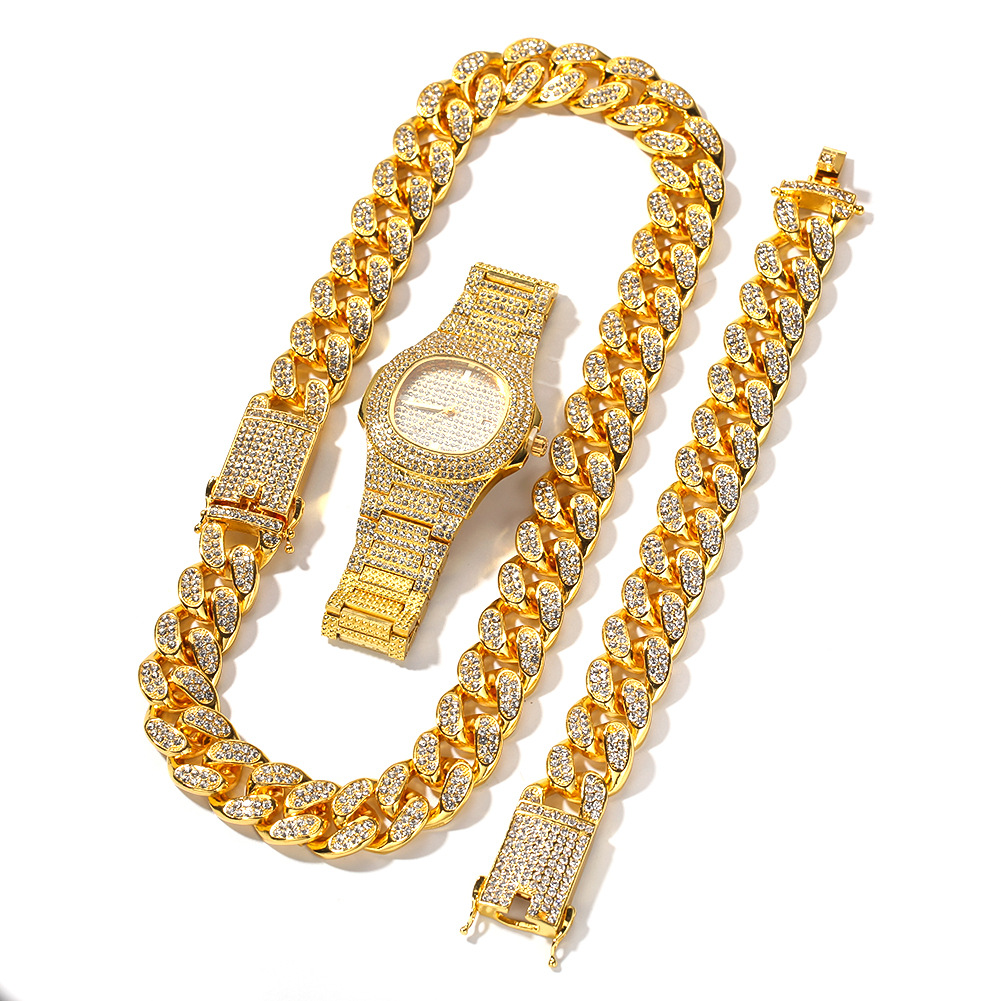 Light Luxury Necklace +Watch+Bracelet Set Hip Hop Miami Curb Cuban Chain Gold Silver Iced Out Paved Rhinestones  For Men Jewelry