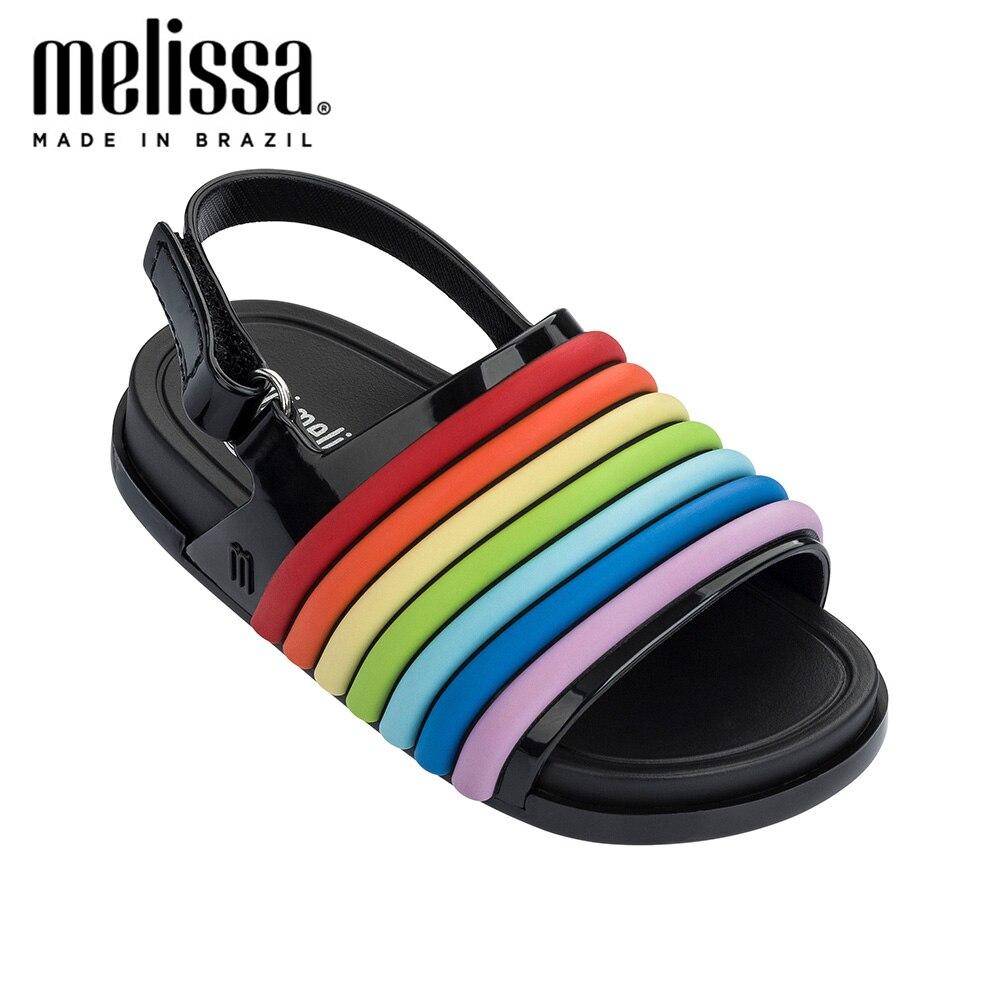 Mini Melissa Beach Slide Sandal Rainbow Girl Boy Jelly Shoes Sandals 2020 Baby Shoes Melissa Sandals Non-slip Kids Shoes Sandals