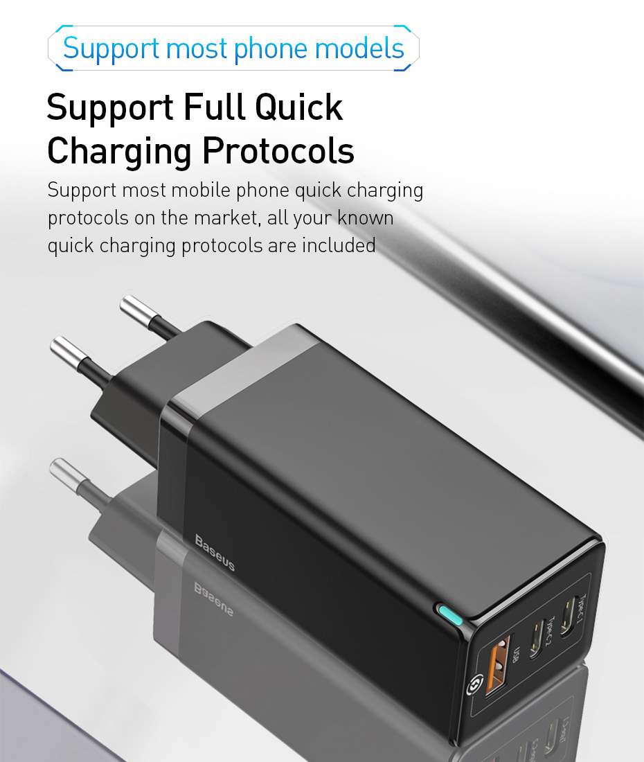 Baseus 65W GaN Charger Quick Charge 8
